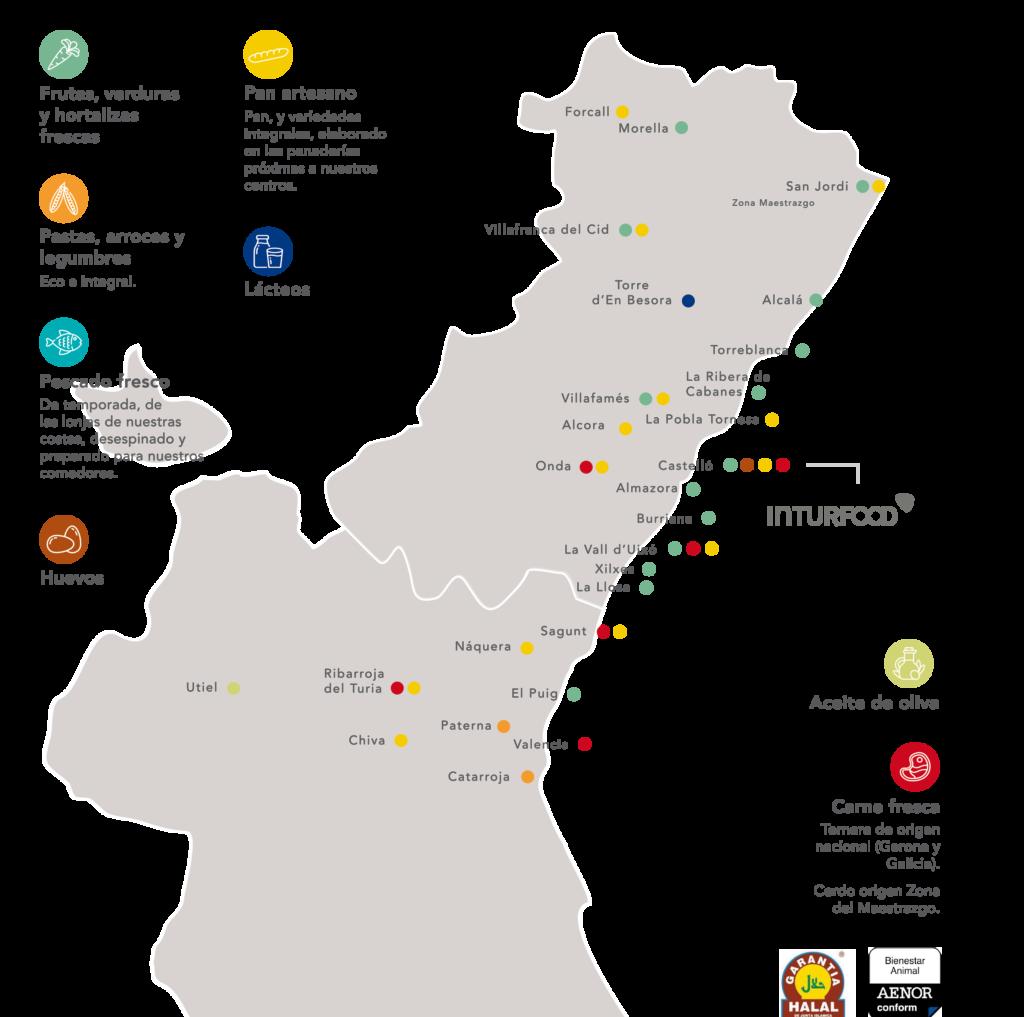 Mapa proveedores KM0 intur
